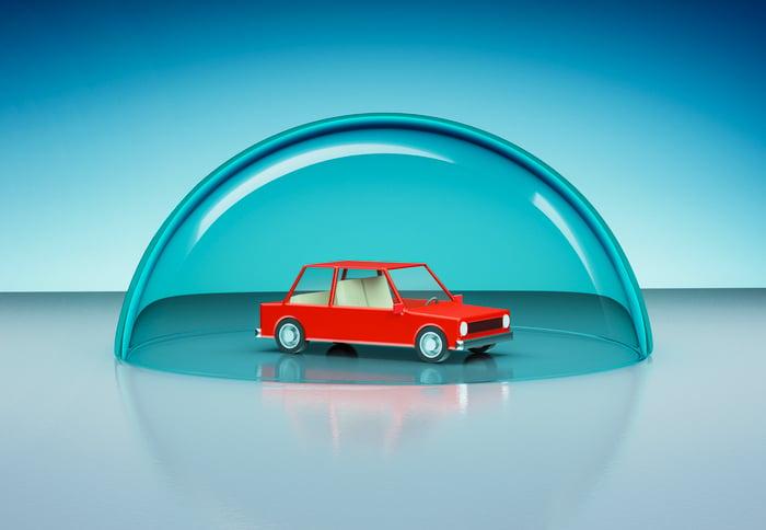 Illustration d'une voiture avec une bulle de protection autour d'elle.