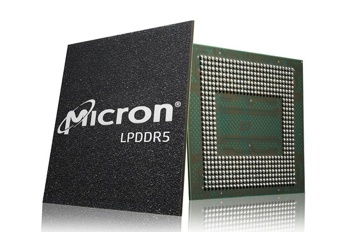 An illustration shows Micron Technology computer chips