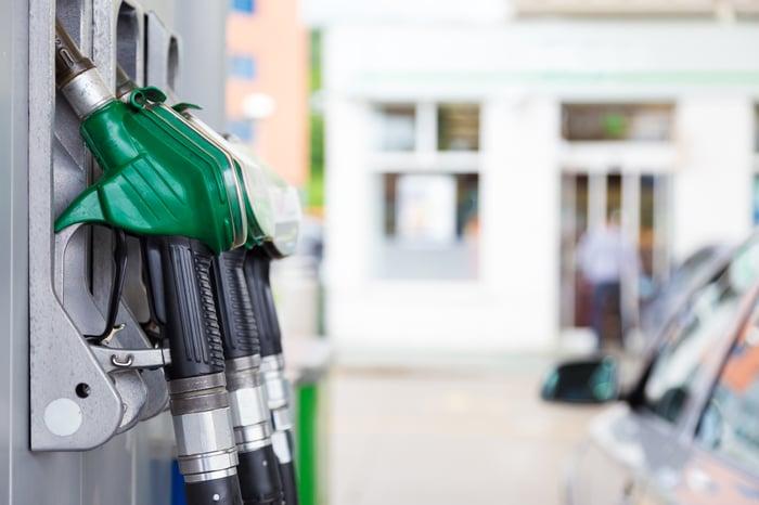 Close up of gasoline pumps.