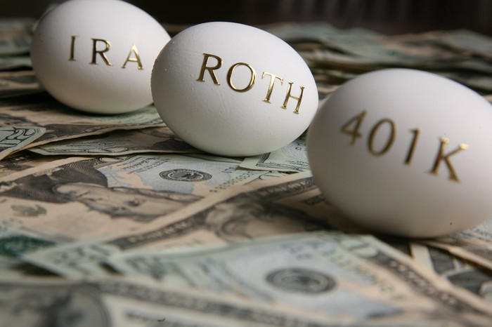 Three eggs on top of money. One says, IRA, one says ROTH, and one says 401K.