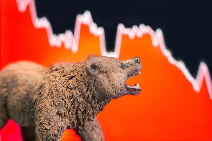 A brown bear roars at a red chart trending downward behind it.