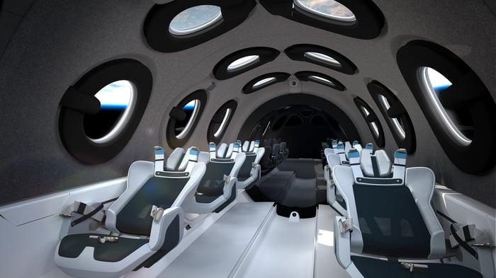 Intérieur de la cabine du vaisseau spatial Virgin Galactic.