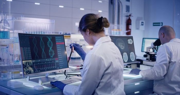 A researcher in a genetics lab.