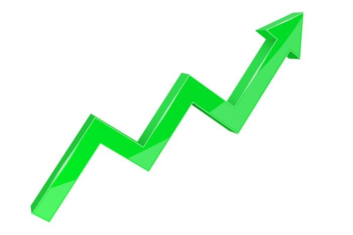 A green arrow rises upward.