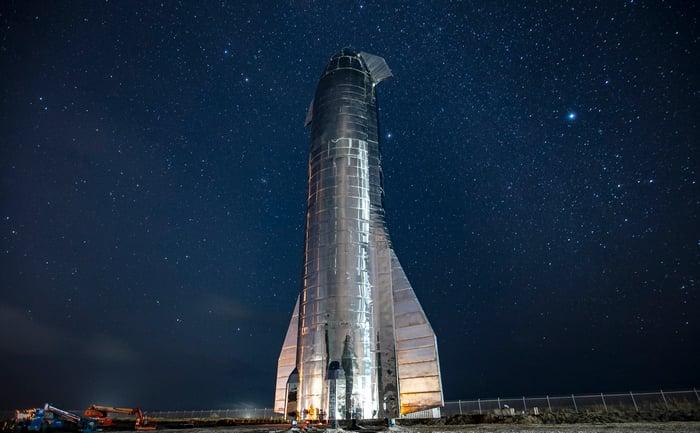 SpaceX Starship MK1 at night.