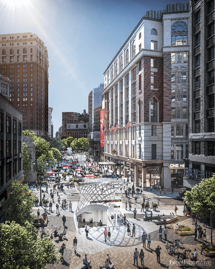 A rendering of the proposed pedestrian plaza outside Macy's Herald Square flagship store