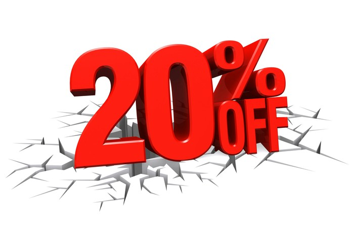 20% off letters cracking a floor
