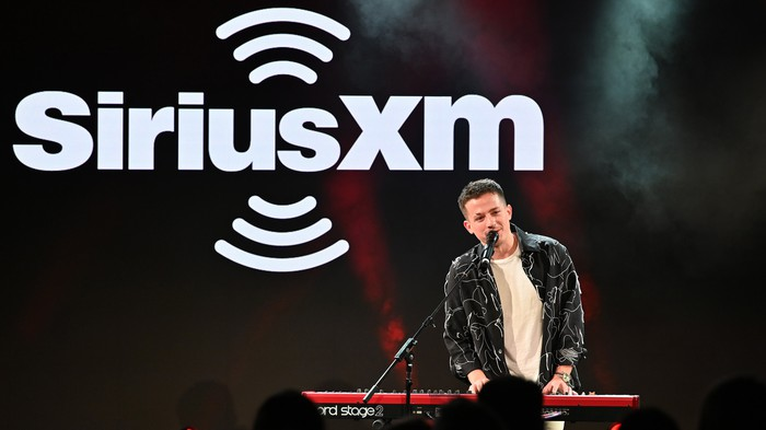 Charlie Puth performing at a Sirius XM contest.