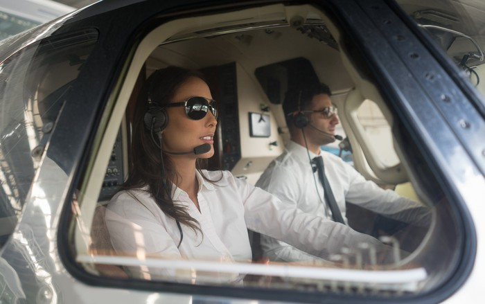 Two helicopter pilots in the cockpit together.
