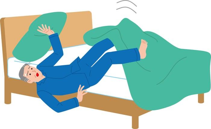 Cartoon man in pajamas falls out of bed