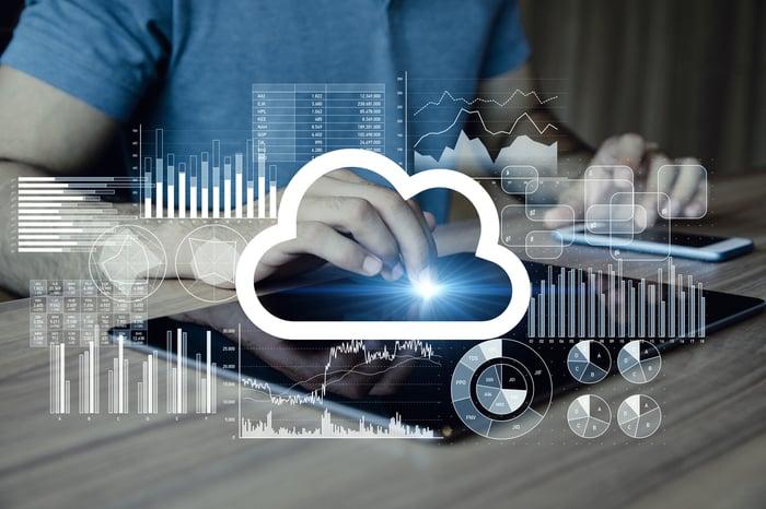 Un homme travaillant sur une tablette produisant une image de cloud computing et divers graphiques.