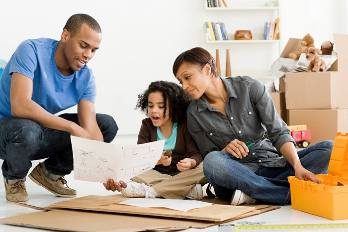 family working on a home improvement project