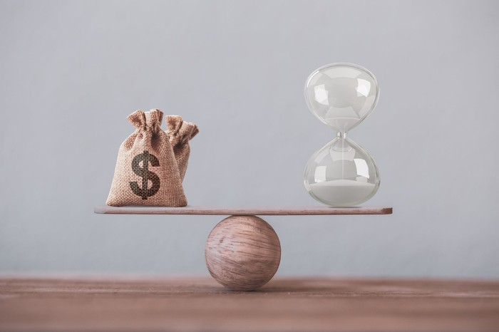 A small see saw on a table with bags of money on one side and an hourglass on the other.