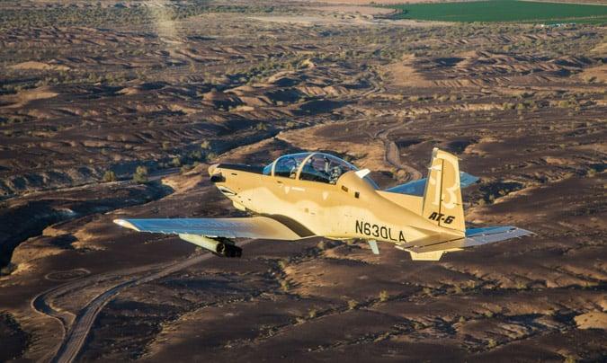 Textron's Wolverine aircraft in flight.