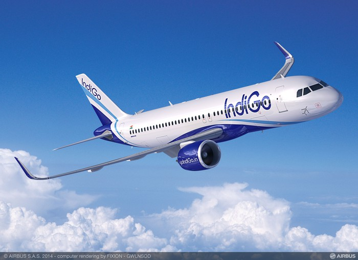 A rendering of an IndiGo Airbus A320neo.