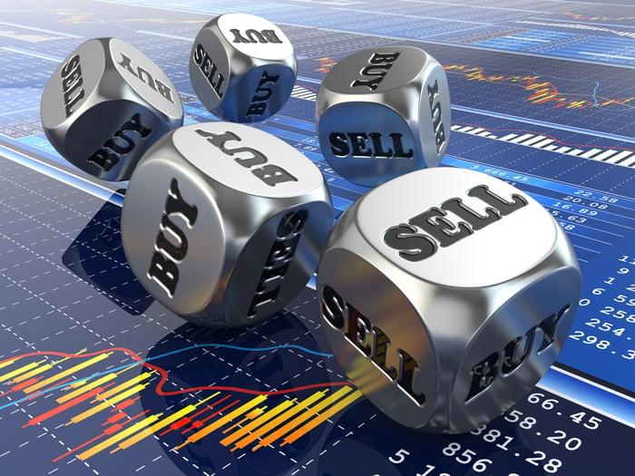 Dés en argent qui disent acheter et vendre roulés sur un écran numérique affichant un graphique boursier et des informations sur le volume.