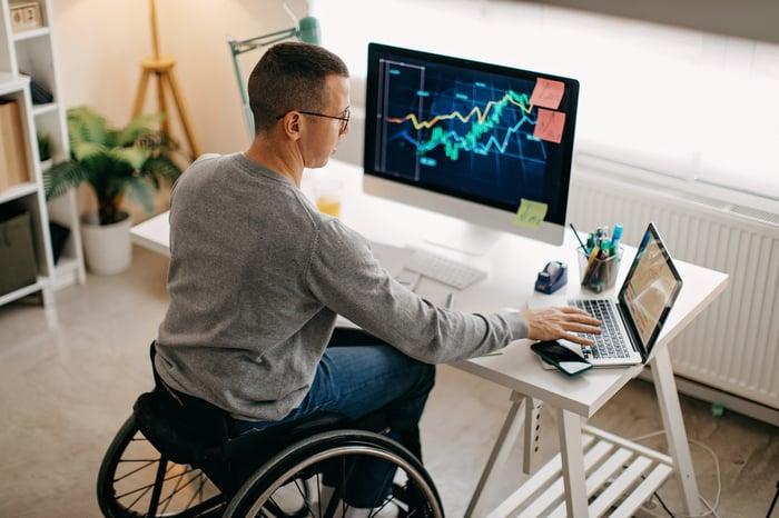 Investidor revisando gráficos de ações no tablet e computador.