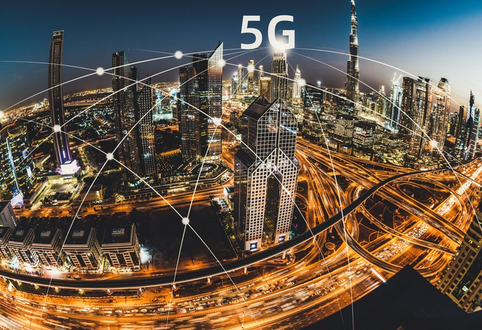 A city connected with 5G.