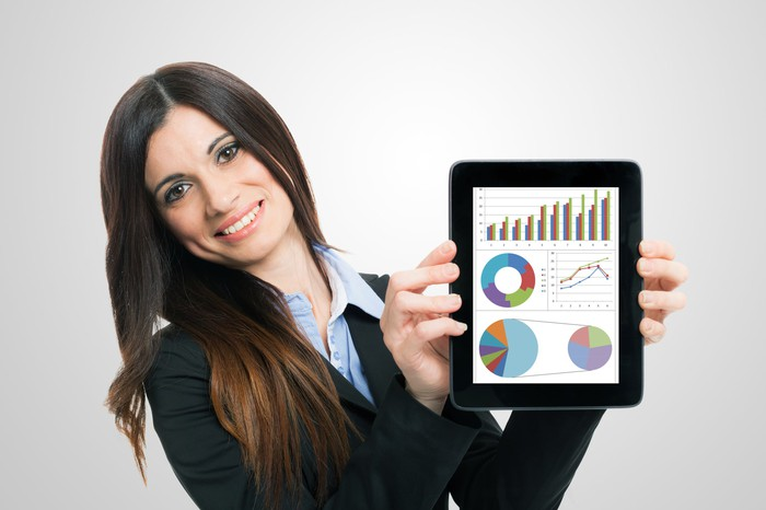 A woman showing stock data.