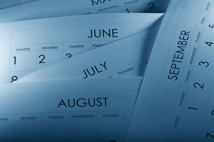 Printed monthly calendars lying on top of one another.