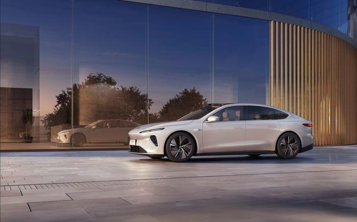 NIO ET7 luxury electric sedan on display