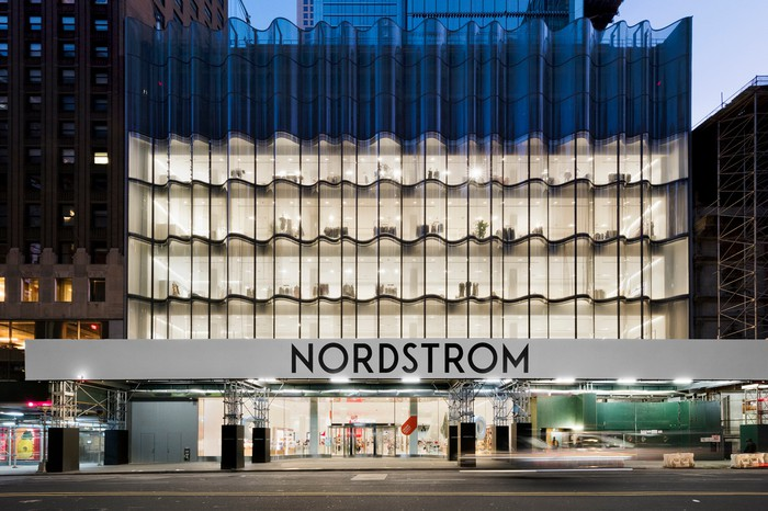 The exterior of Nordstrom's Manhattan flagship store.