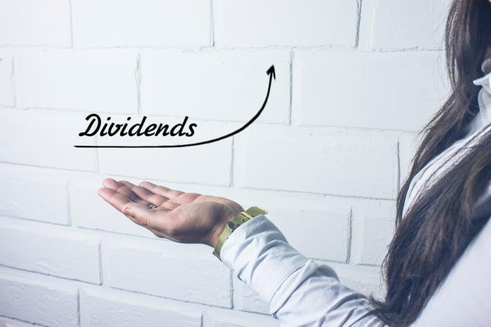 Une personne avec une main tendue tenant le mot dividendes.