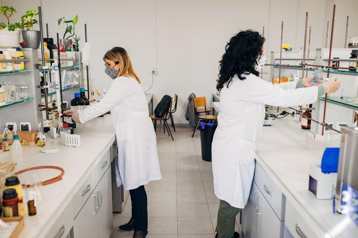 Deux scientifiques travaillent sur des bancs de laboratoire séparés.