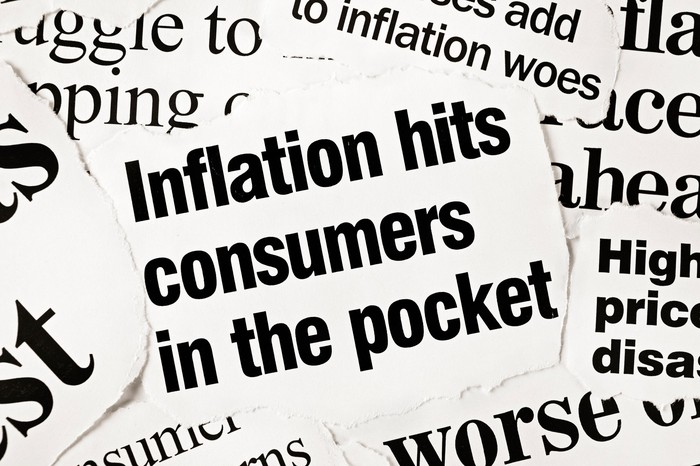 """Newspaper clipping that reads """"Inflation hits consumers in the pocket."""""""