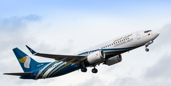 A Boeing 737 MAX in the colors of Oman Air.