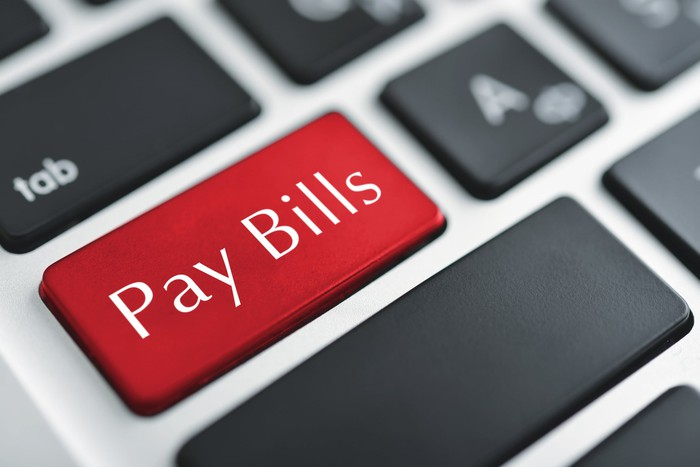 A red keyboard button is labeled pay bills.