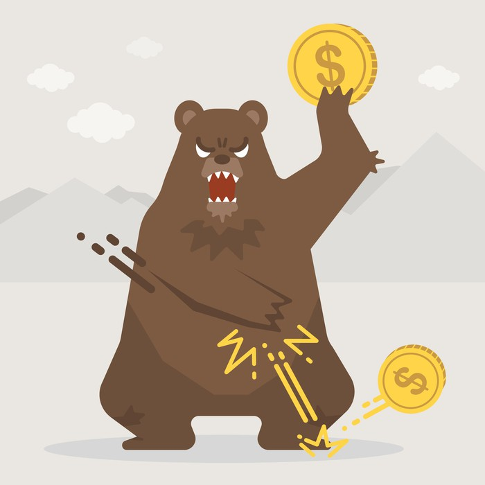 Cartoon of a bear smashing coins with dollar signs on them to the ground.