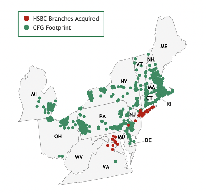 Branch map of Citizens Financial and HSBC branches.