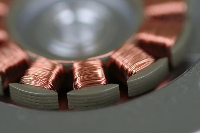 copper wiring in a motor.