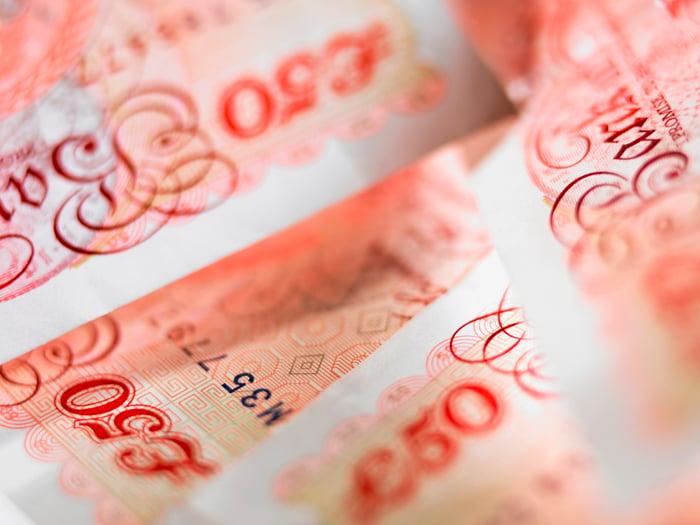 Closeup of British banknotes.