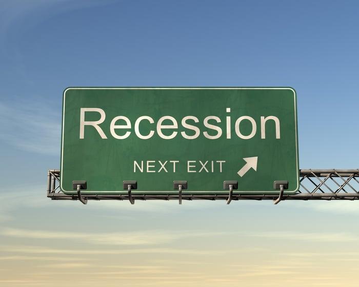 "A road sign reading ""recession."""