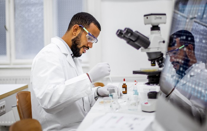 Scientist at work in a laborataory.