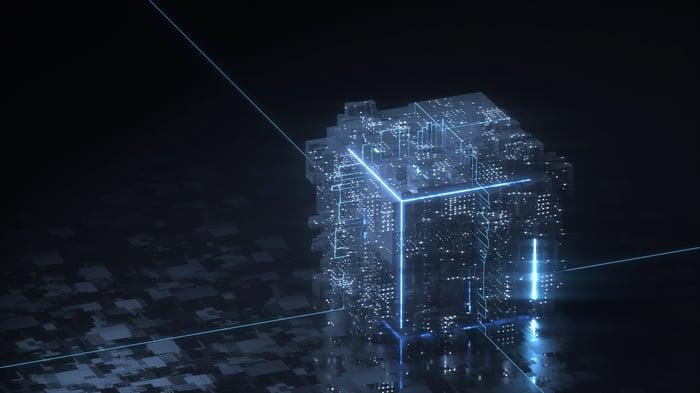 Bloc de données nébuleuses avec des bords brillants - symbolisant un bloc sur la blockchain.