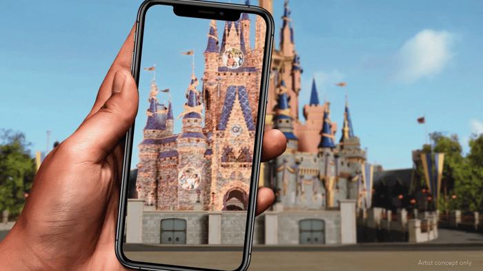 Smartphone photographing Cinderella's Castle.