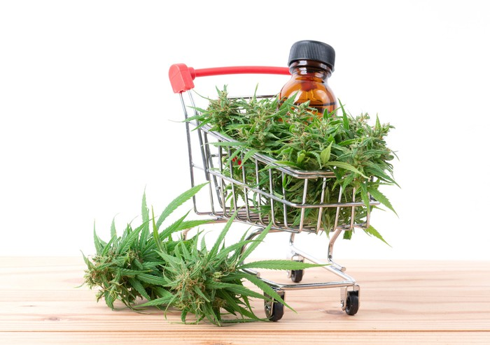 Marijuana and CBD oil overflowing a shopping cart