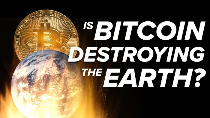 A giant Bitcoin looms over an Earth engulfed in flames, with the words, Is Bitcoin Destroying the Earth.