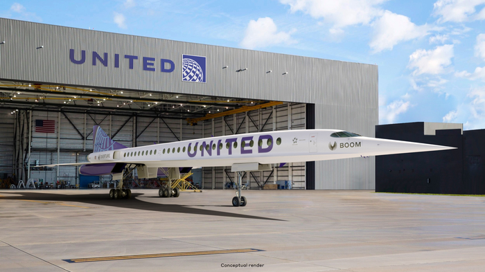 rendering of Boom Supersonic's Overture aircraft for United Airlines fleet.