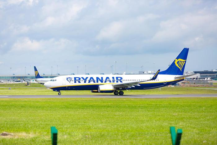 A Ryanair Boeing 737 on a runway.