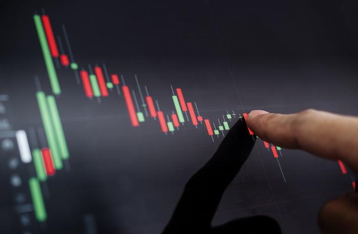Une personne pointe vers un graphique boursier qui augmente fortement puis diminue.