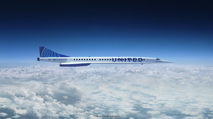 A rendering of a Boom Overture in the United Airlines livery flying over clouds.