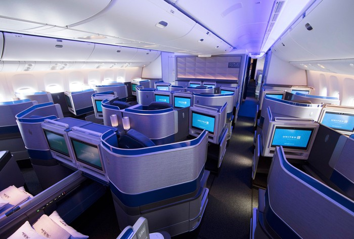 A section of the Polaris business-class cabin on a United Airlines wide-body jet.