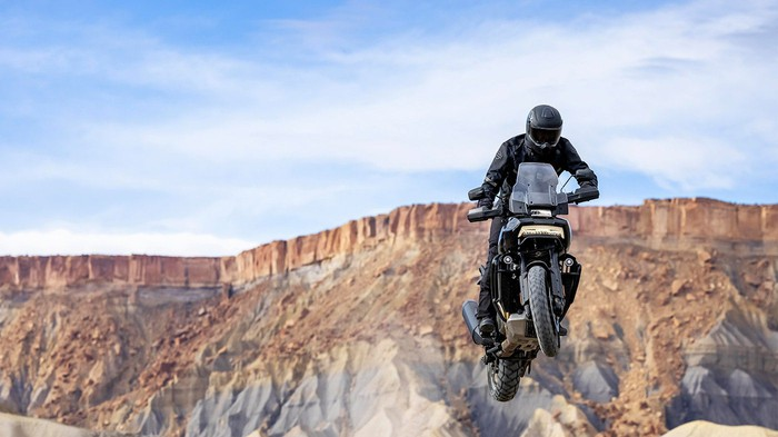 Harley-Davidson Pan America 1250 motorcycle being ridden in the desert