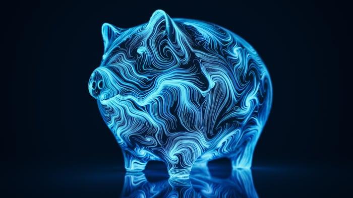 A wavy blue digital piggy bank against a dark background.