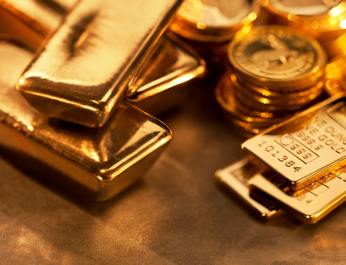 Gold ingots and coins.