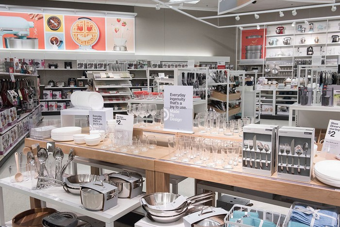 Part of the kitchen section of a Target store.